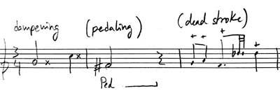 notacion para apagar sonido vibrafono
