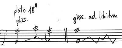 notación plato suspendido sobre timbal