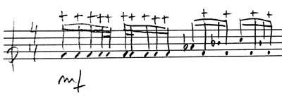 notacion del sonido apagado en la marimba