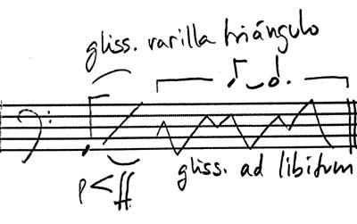 notación varilla de triángulo en plato sobre timbal